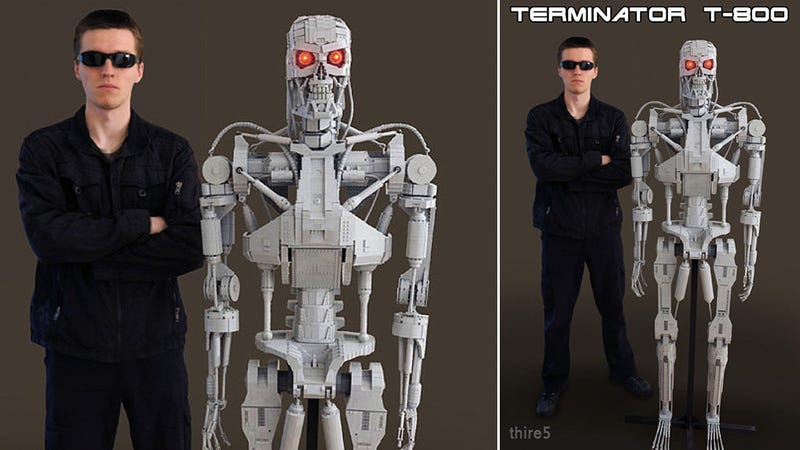 Illustration for article titled A Full Scale Lego T-800 Terminator Sent Back In Time To Blow Our Minds