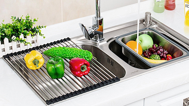 Veego Roll-Up Drying Rack Stainless Steel Folding Over Sink Dish Rack | $16 | Amazon | Use code TYK9EE7Q