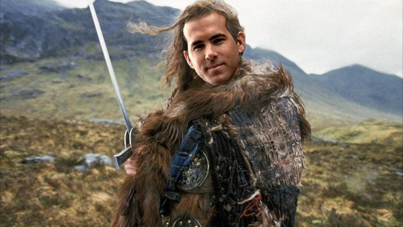 Illustration for article titled There can be only one to star in that Highlander remake, and apparently it's Ryan Reynolds
