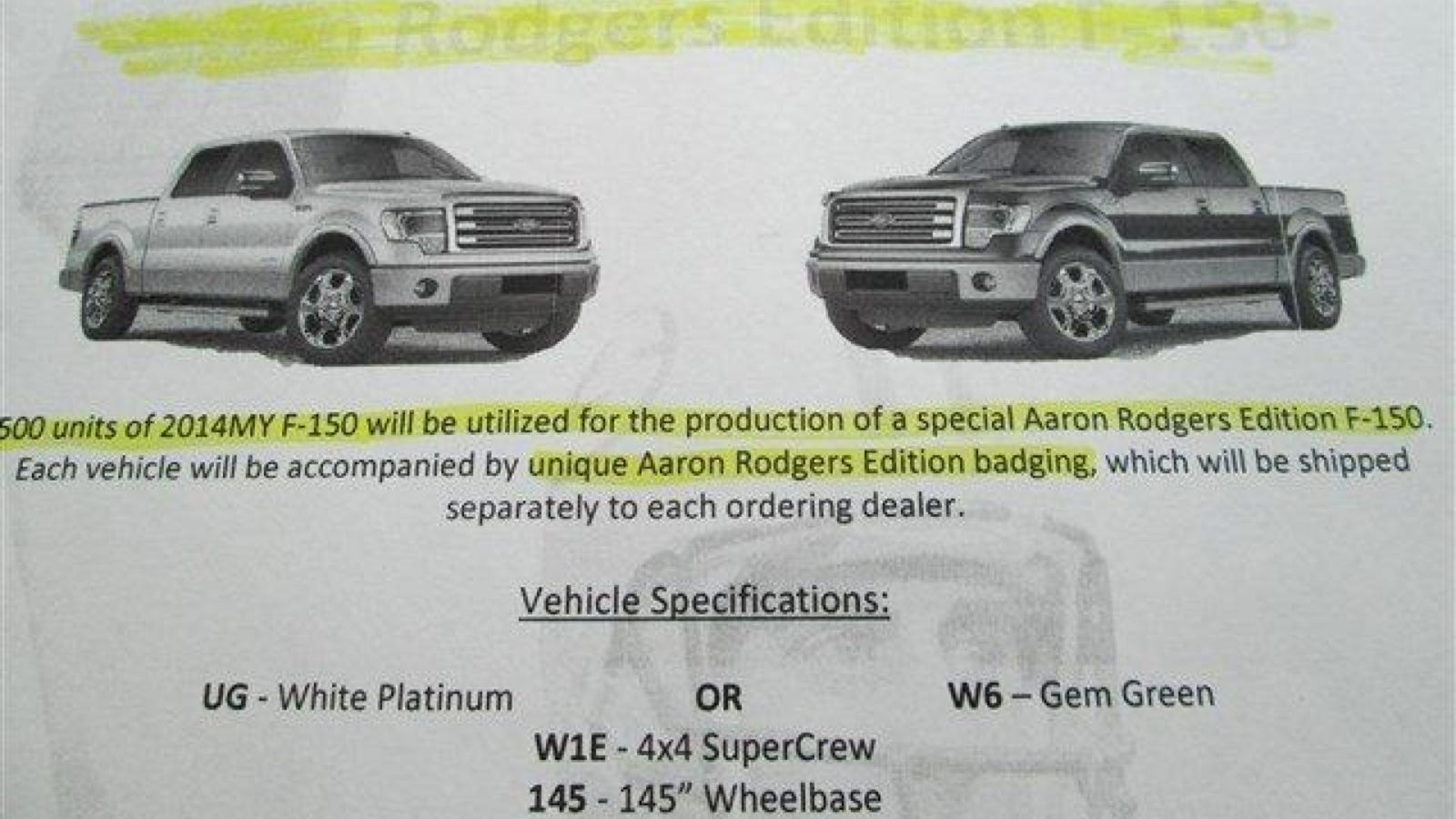 Aaron Rodgers Edition F 150 Might Be Saddest Dealership Promo Ever