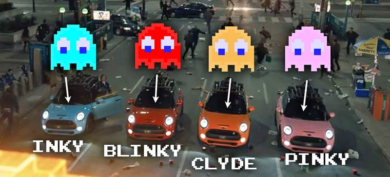 Illustration for article titled Mini Coopers Will Be Playing The Role Of Pac-Man Ghosts In Pixels