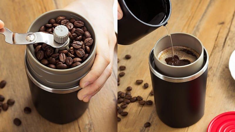 Termo de café portátil con molinillo   $16   AmazonGráfico: Shep McAllister