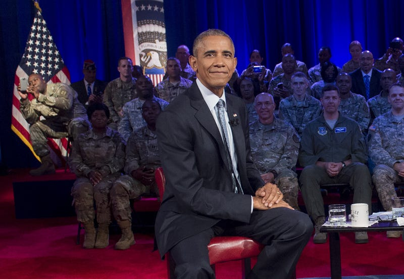 President Barack Obama participates in a CNN Town Hall meeting with Jake Tapper with members of the U.S. Army at Fort Lee, Va., on Sept. 28, 2016.      SAUL LOEB/AFP/Getty Images