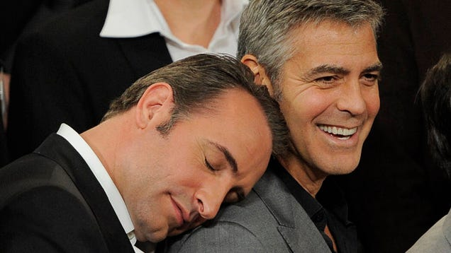 Jean dujardin snuggles right up with george clooney - Jean dujardin george clooney ...