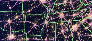 Heres A US Map Showing The Constellation Of City Lights And Highways - Us map night