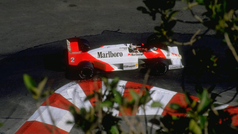 Before winning with Honda engines, '80s McLarens won with TAG-branded Porsche V6s. Ironically, this particular '87 Monaco race ended for Stefan Johansson with engine problems.