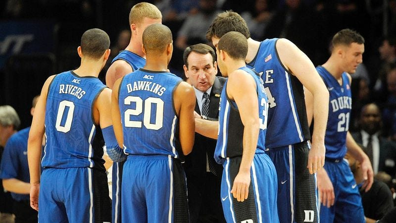 Illustration for article titled Excited Mike Krzyzewski: Duke Squad Hasn't Been This Unlikable In Years