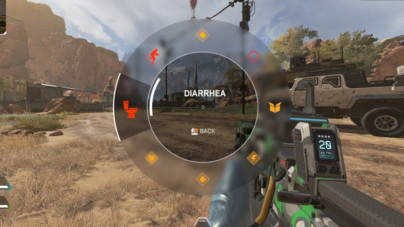 Illustration for article titled Encouraging Teamwork: 'Apex Legends' Has A Button That Lets Players Easily Announce They Have Diarrhea And Won't Be Shooting Anyone For A Few Minutes