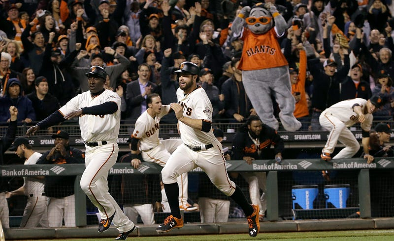 Lou Seal cannot believe it. (Photo credit: Jeff Chiu/AP)