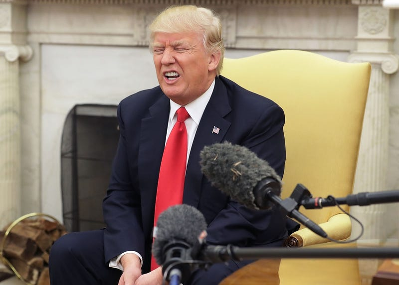 President Trump groans in unspeakable pleasure thinking about all the jobs he's destroying in government in a photo from March 30, 2017 (Photo by Chip Somodevilla/Getty Images)