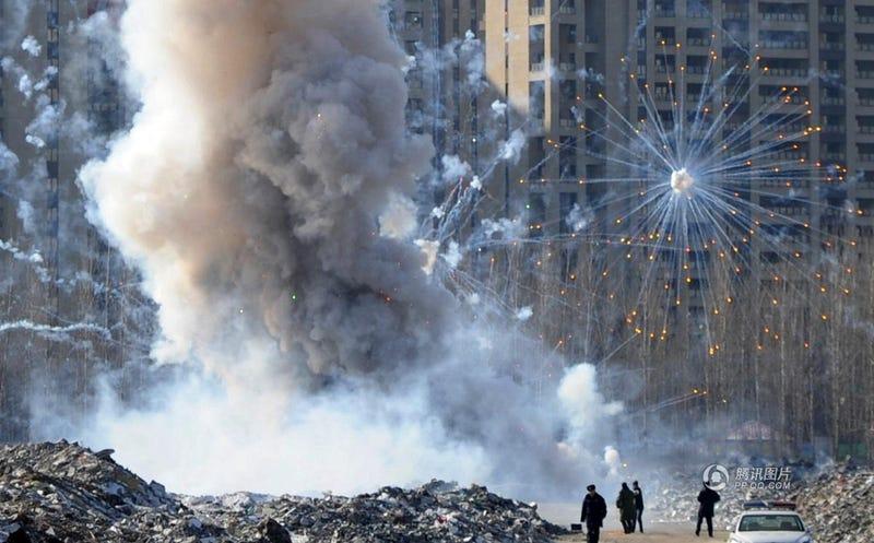Illustration for article titled Chinese police destroyed 3,083 sets of firework creating huge explosion