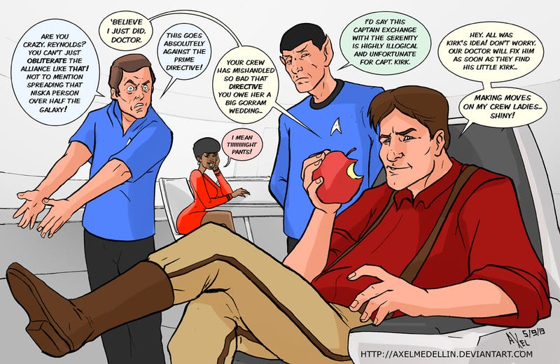 Illustration for article titled Cap'n Tightpants and Captain Kirk trade places