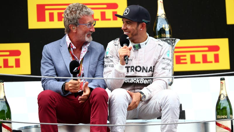 Jordan interviewing Mercedes driver Lewis Hamilton after the 2014 Spanish Grand Prix. Photo credit: Mark Thompson/Getty Images