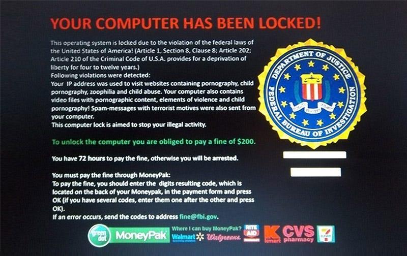 El infame malware FBI MoneyPak. Foto: Zookaware