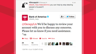 Illustration for article titled Bank of America's Twitter Account Is One Really Really Dumb Robot
