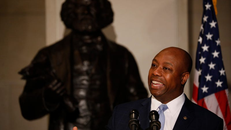Sen. Tim Scott (R-SC) speaks at an event honoring the bicentennial of Frederick Douglass' birth on Capitol Hill on February 14, 2018 in Washington, DC. Douglass, born into slavery, rose to become one of the leading social reformers of his time.