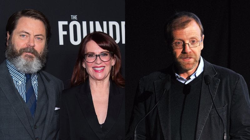 Nick Offerman (left), Megan Mullally, and George Saunders (Photos: Emma McIntyre/Getty Images; Andrew H. Walker/Getty Images for The New Yorker)