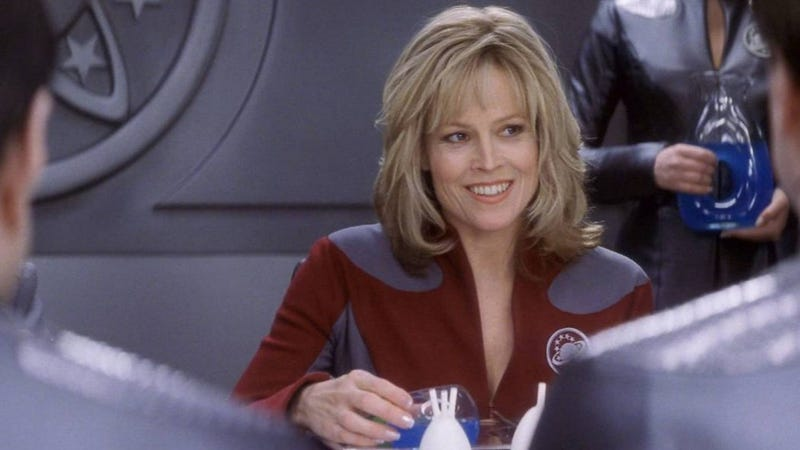 Sigourney Weaver tries space booze in Galaxy Quest.