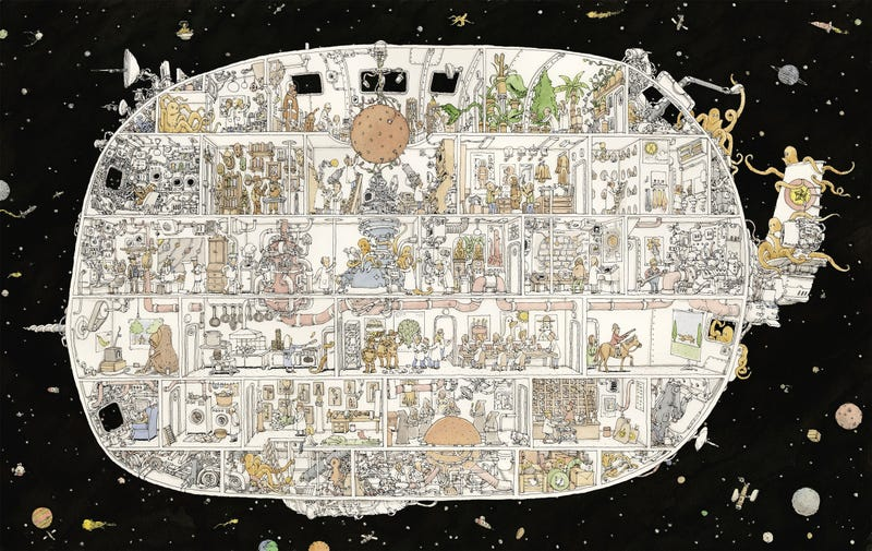 Illustration for article titled An Incredibly Detailed Illustration of the Spaceship That Has Everything