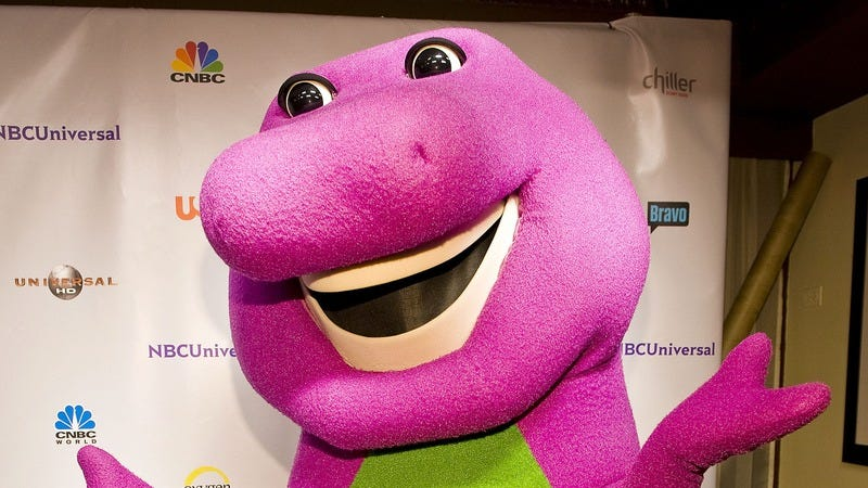 Barney The Purple Dinosaur attends the NBC Universal VIP party during the Cable Show 2011 in Chicago. (Photo: Lyle A. Waisman/FilmMagic via Getty Images)