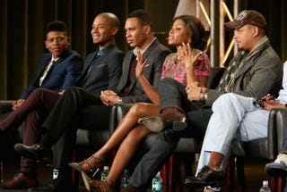 Actors Bryshere Gray, Jussie Smollett, Trai Byers, Taraji P. Henson and Terrence Howard during the Empire panel discussion at the Fox portion of the 2015 Winter TCA Tour at the Langham Hotel Jan. 17, 2015, in Pasadena, Calif.Frederick M. Brown/Getty Images