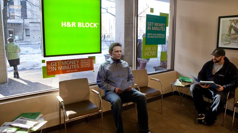 Illustration for article titled Man Waiting In H&R Block Lobby Nervously Eyeing How Much More Paperwork Everyone Else Brought