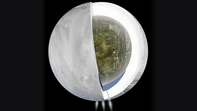 Encélado, la luna de Saturno que esconde un enorme océano de agua