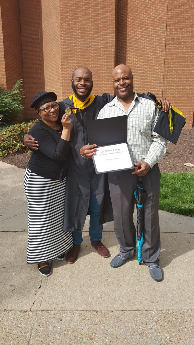 Marcus-David L. Peters stands between his parents, Barbara Peters and Jerry Peters Sr., after his graduation from Virginia Commonwealth University in 2016.