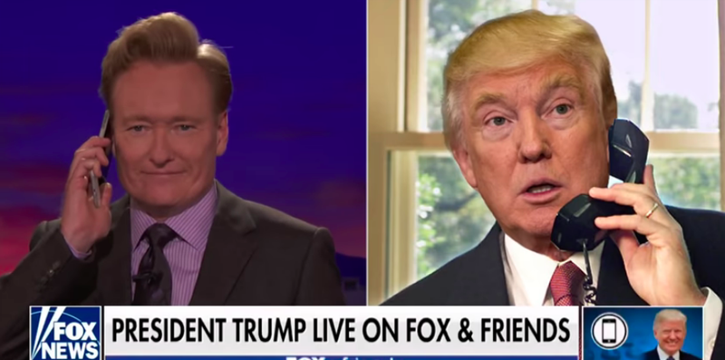 Illustration for article titled Conan O'Brien lures Trump with a Fox & Friends logo on Conan