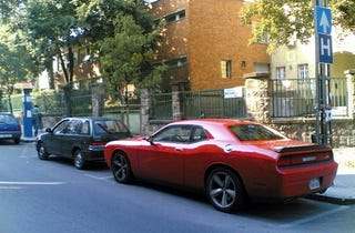 Illustration for article titled Dodge Challenger Takes On Hungary, Blots Out Entire Country