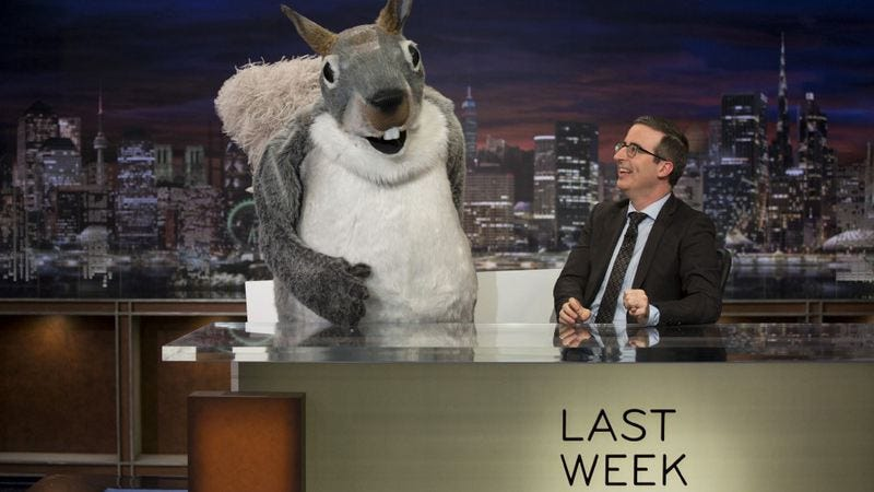 Pictured: The squirrel that launched a lawsuit. Oh, and John Oliver (Photo: Eric Liebowitz/HBO)