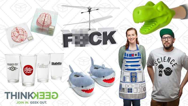 Brain Specimen Coasters, $16 | Fallout Pint Glass 4-Pack, $23 | Flying F#CK R/C Helicopter, $18 | Shark Plush Slippers for Grown Ups, $17 | T-Rex Oven Mitt, $10 | R2-D2 BBQ Apron, $15 | Science! Beaker & Honeydew Tee, $16