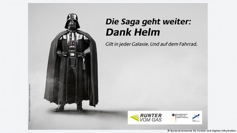 Illustration for article titled Germany's Traffic Ministry chooses Dark Side to promote bicycle helmets.