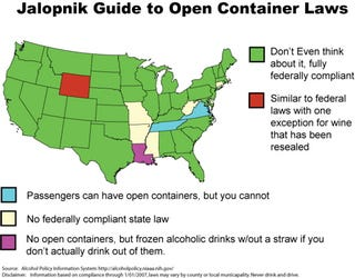Illustration for article titled A Guide to Open Container Laws