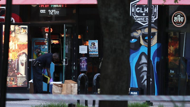 Police outside the GLHF Game Bar in Jacksonville, Florida