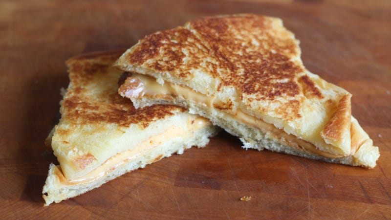 This grilled cheese was made with an inside-out dinner roll.