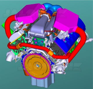 """Illustration for article titled Ford """"Bobcat"""" Dual-Fuel Engine CAD Renderings: First Look At Future"""