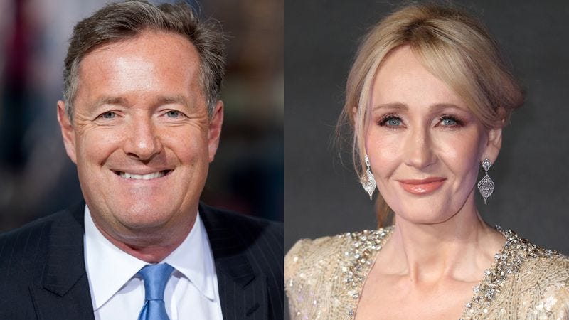Piers Morgan (Photo: Dipasupil/Getty Images) and J.K. Rowling (Photo: Mike Marsland/Getty Images)