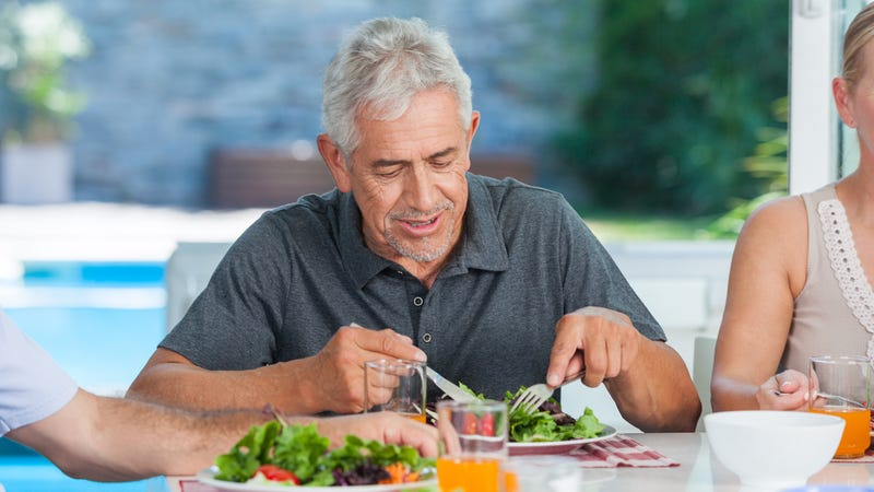 Illustration for article titled Too Proud: Dad Is Clearly Trying To Play Down How Much He Enjoyed A Vegan Meal