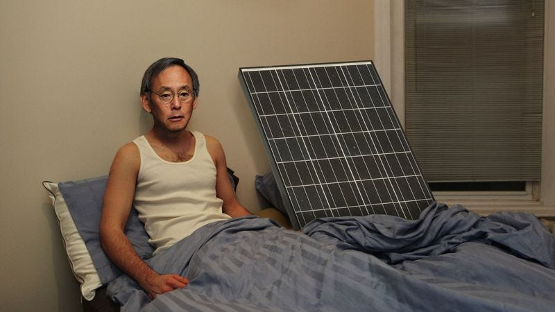 Illustration for article titled Hungover Energy Secretary Wakes Up Next To Solar Panel