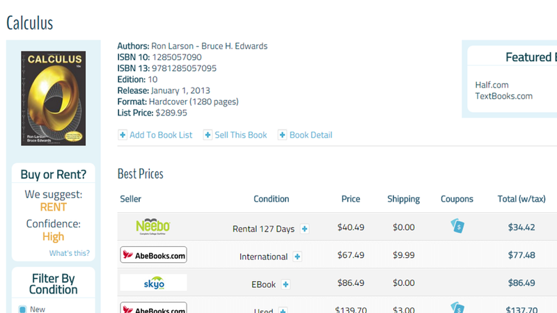 Illustration for article titled CampusBooks Compares Textbook Rental vs. Purchase Prices