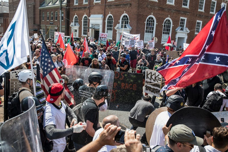 In Documenting Hate: Charlottesville, Frontline and ProPublica investigate the white supremacists and Neo-Nazis involved in the 2017 Charlottesville rally — showing how some of those behind the racist violence went unpunished and continued to operate around the country. Pictured: A scene from the clashes at the Unite the Right rally August 12, 2017, in Charlottesville, Va.