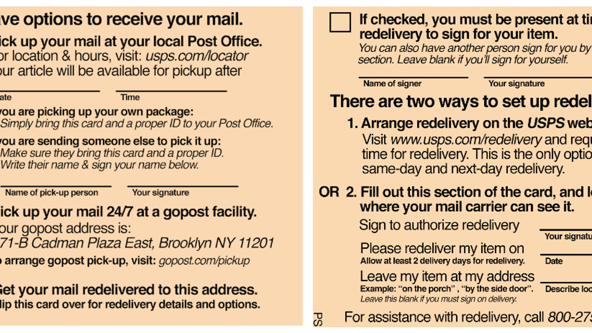 Someone Redesigned the USPS Package Delivery Slip, Thank God