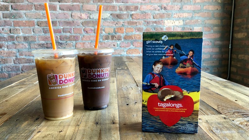 Illustration for article titled Dunkin' Donuts'Girl Scout-cookie coffees are an unholy alliance of two great things