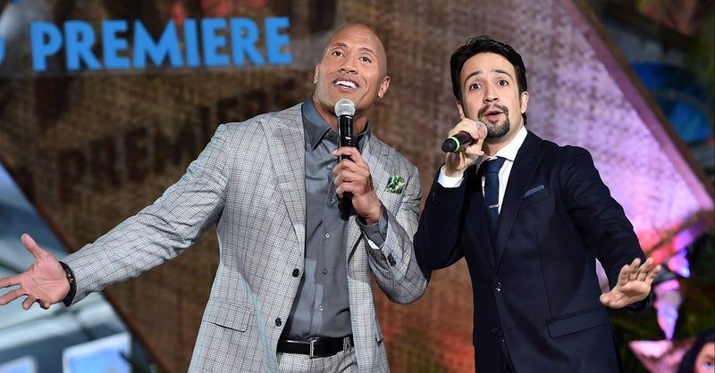 Lin-Manuel Miranda (right) sings with Dwayne Johnson at the premiere of Moana. Image: Disney
