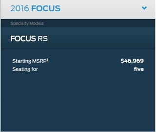 Illustration for article titled Dear Canadians, The 2016 Focus RS Will Cost You That Much