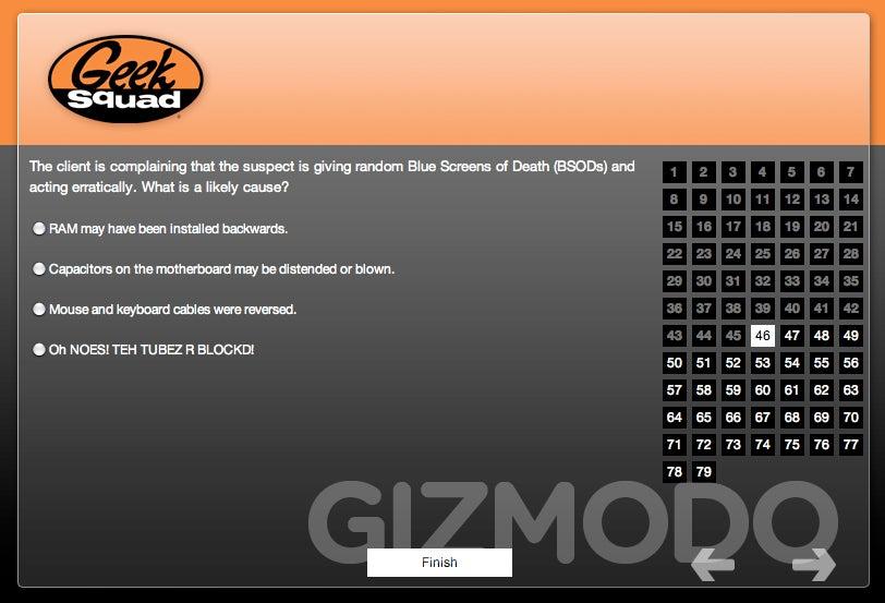 geek squad certification test is absolutely stupid rh gizmodo com Geek Squad Funny Geek Squad Van