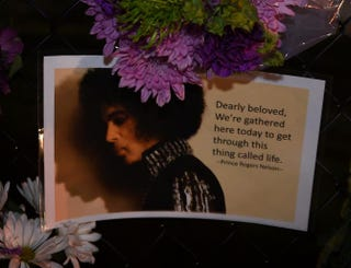Message left by fans outside the Paisley Park residential compound of music legend Prince outside Minneapolis on April 21, 2016, the day he died at age 57MARK RALSTON/AFP/Getty Images