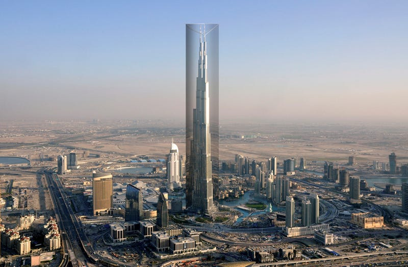 Illustration for article titled A proposal to wrap the world's tallest building in a reflective fabric