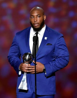 Devon Still accepts the Jimmy V Award for Perseverance during the 2015 ESPYs at Microsoft Theater in Los Angeles July 15, 2015.Kevin Winter/Getty Images